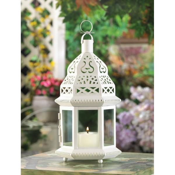 White Moroccan Style Lantern - Candle Lanterns
