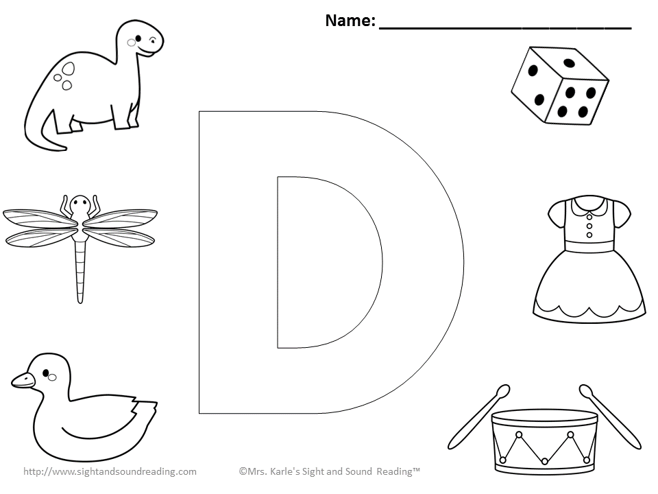 Preschool Letter D Coloring Pages Sketch Coloring Page