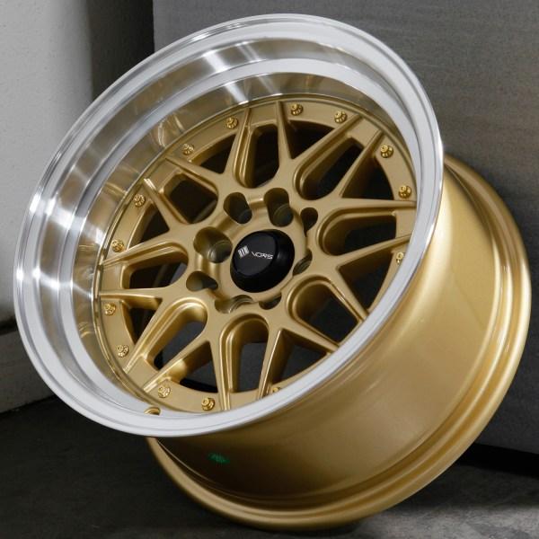 15x8 Vors Vr7 4x100 4x114.3 0 Gold Wheels Rims Set 4
