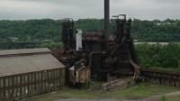 5K aerial video orbiting a steel factory, Carrie Furnace ...