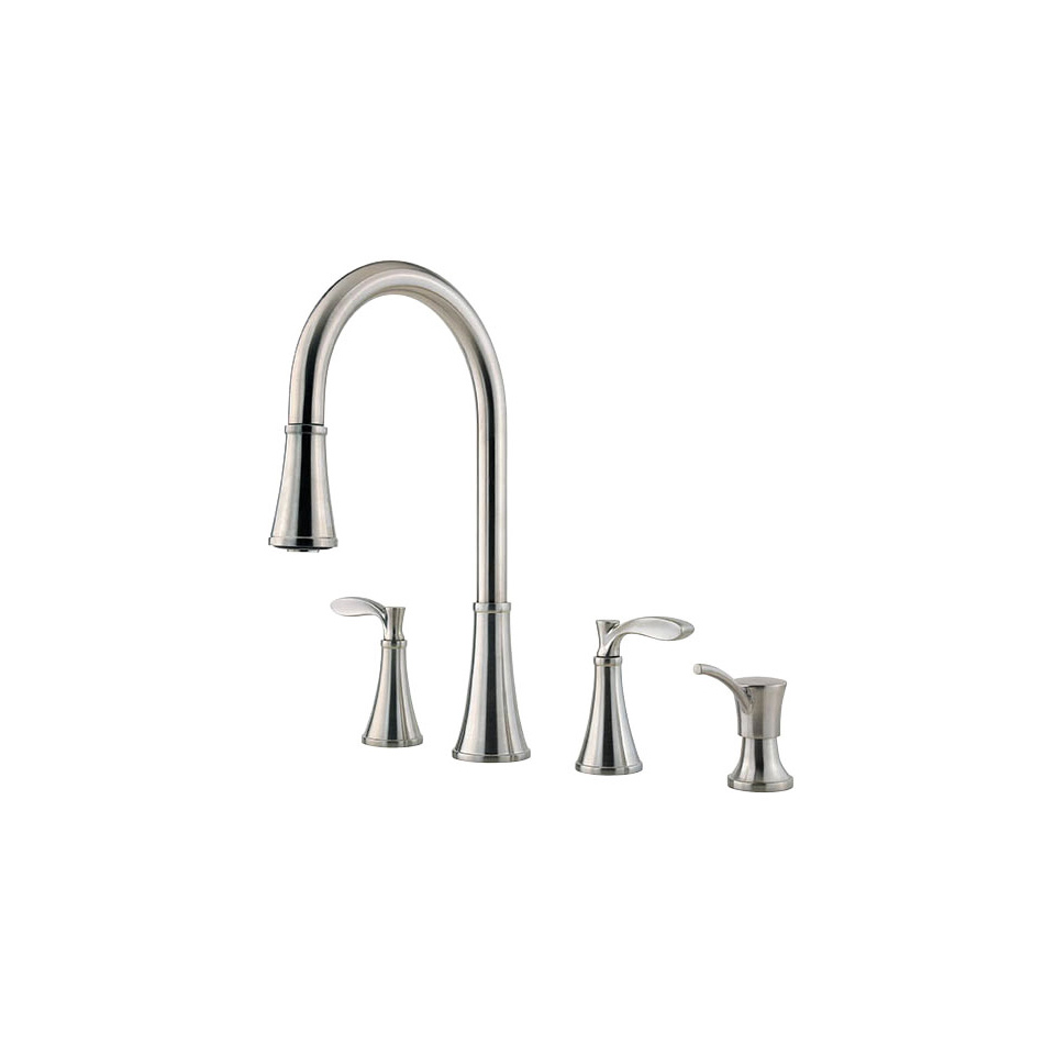 professional kitchen faucet back splash bath4all pfister f5314pas stainless steel petaluma pullout spray image 1