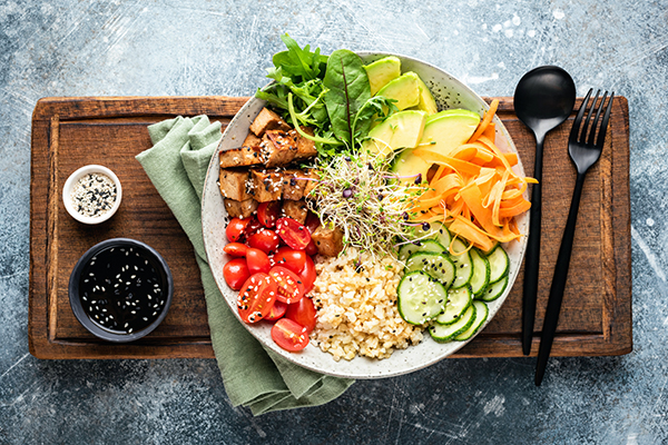 Protein bowl of mixed vegetables and grains.