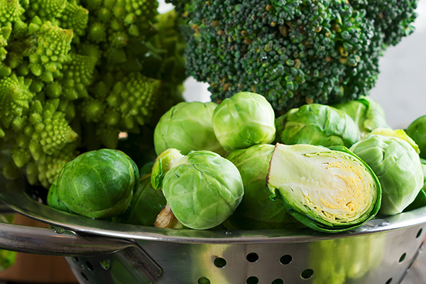Brussels sprouts, broccoli and kohlrabi