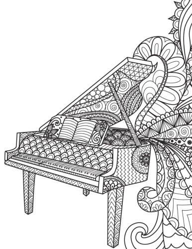 Blank Book Journal: Piano Music Zentangle Cover Diary
