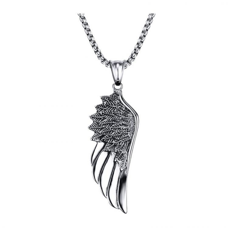 Stainless Steel Vintage Feather Angel Wing Pendant Necklace