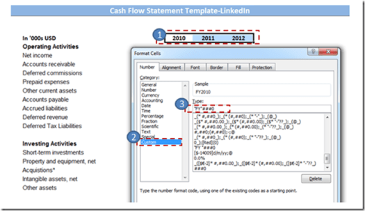 Formatting the Cash Flow Statement Template