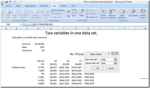 Sensitivity Analysis in Excel
