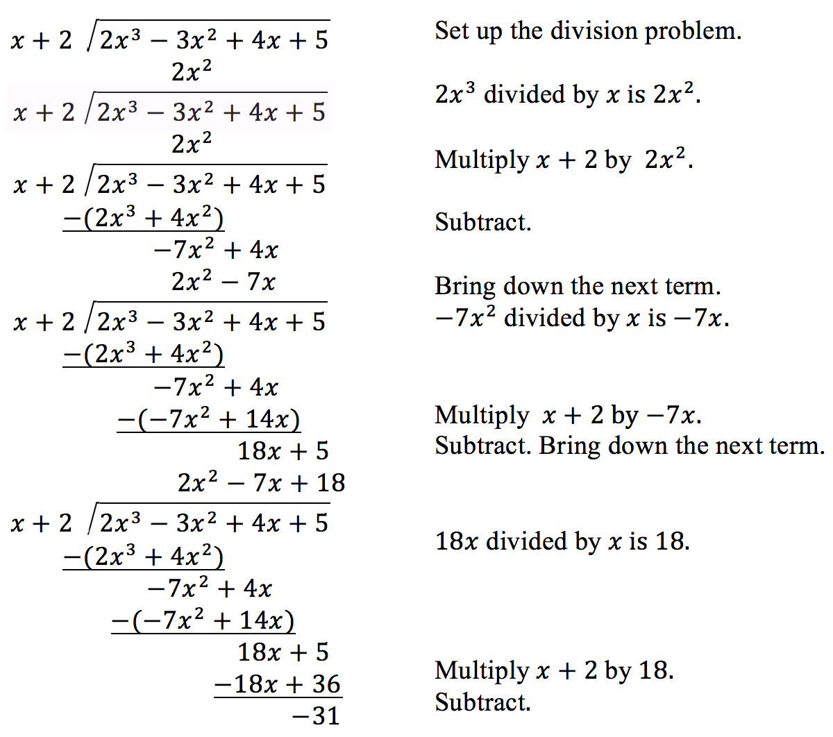Dividing Polynomials Using Long Division Worksheets