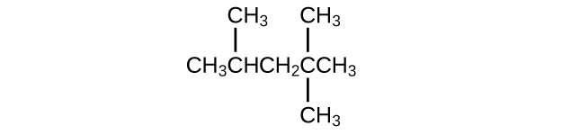 The hydrocarbon molecular structure shown includes C H subscript 3 C H C H subscript 2 C C H subscript 3. There is a C H subscript 3 group bonded to the second C atom in the chain (from left to right). There are two C H subscript 3 groups bonded above and below the fourth C atom in the chain.