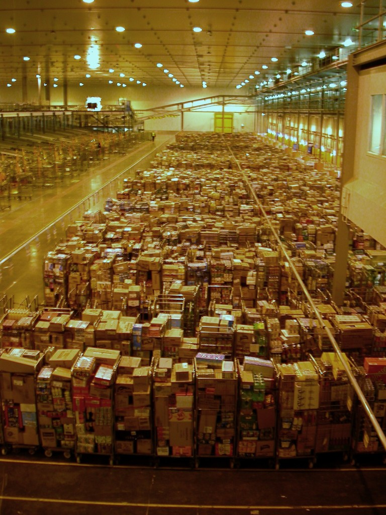 A warehouse full of pallets of different items.