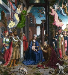 renaissance northern painting religious themes captures gossaert jan history figures angels inspiration antwerp adoration west madonna child mannerist tradition particularly