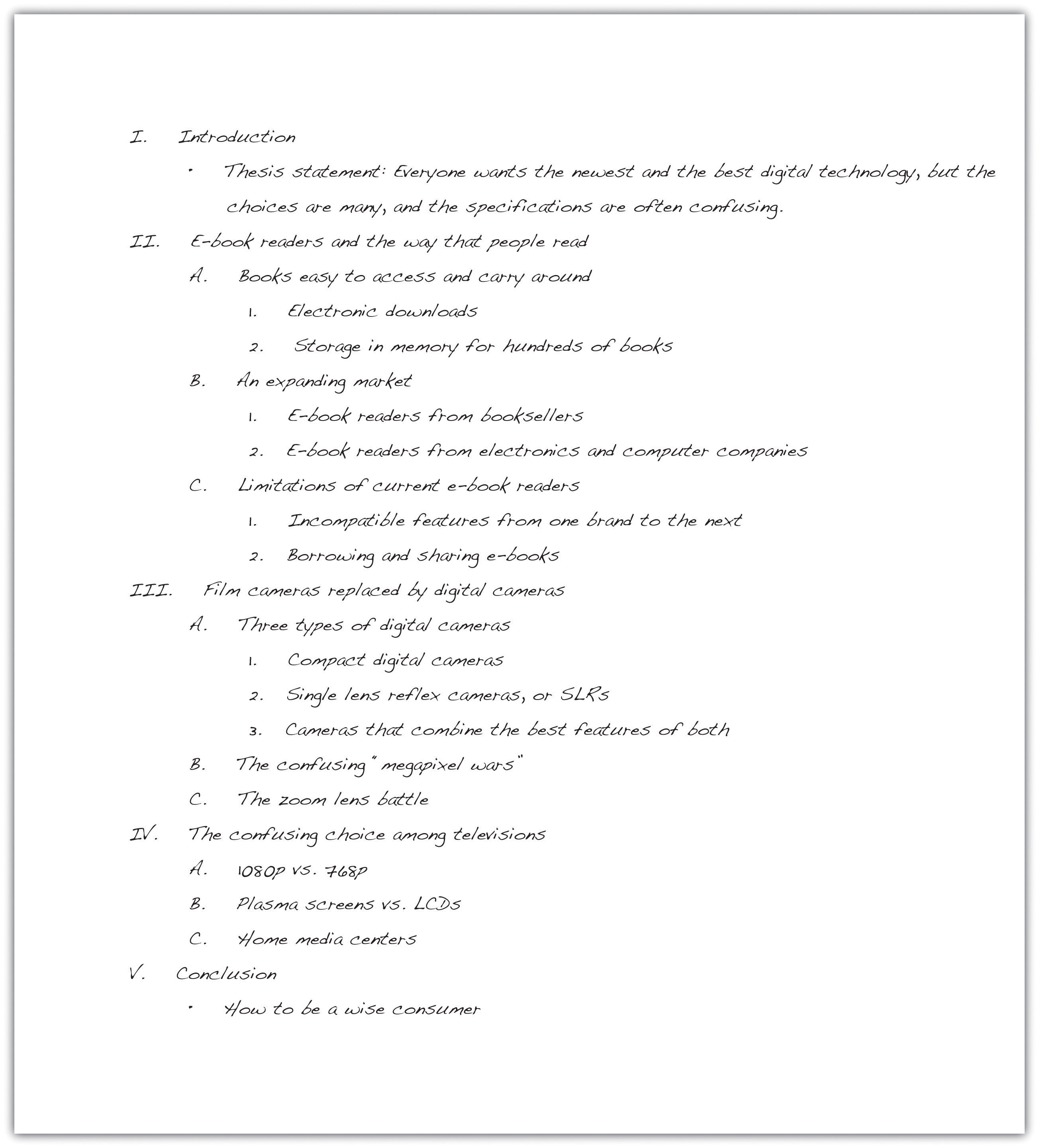 Example Of An Outline Of An Essay Creating A Outline For An Essay
