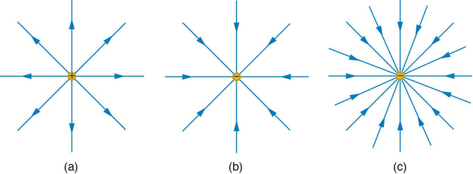 what do the lines represent in an electric field diagram allen bradley mcc bucket wiring motion of a charged particle magnetic boundless physics generated by point charges surrounding three different positive charge b negative