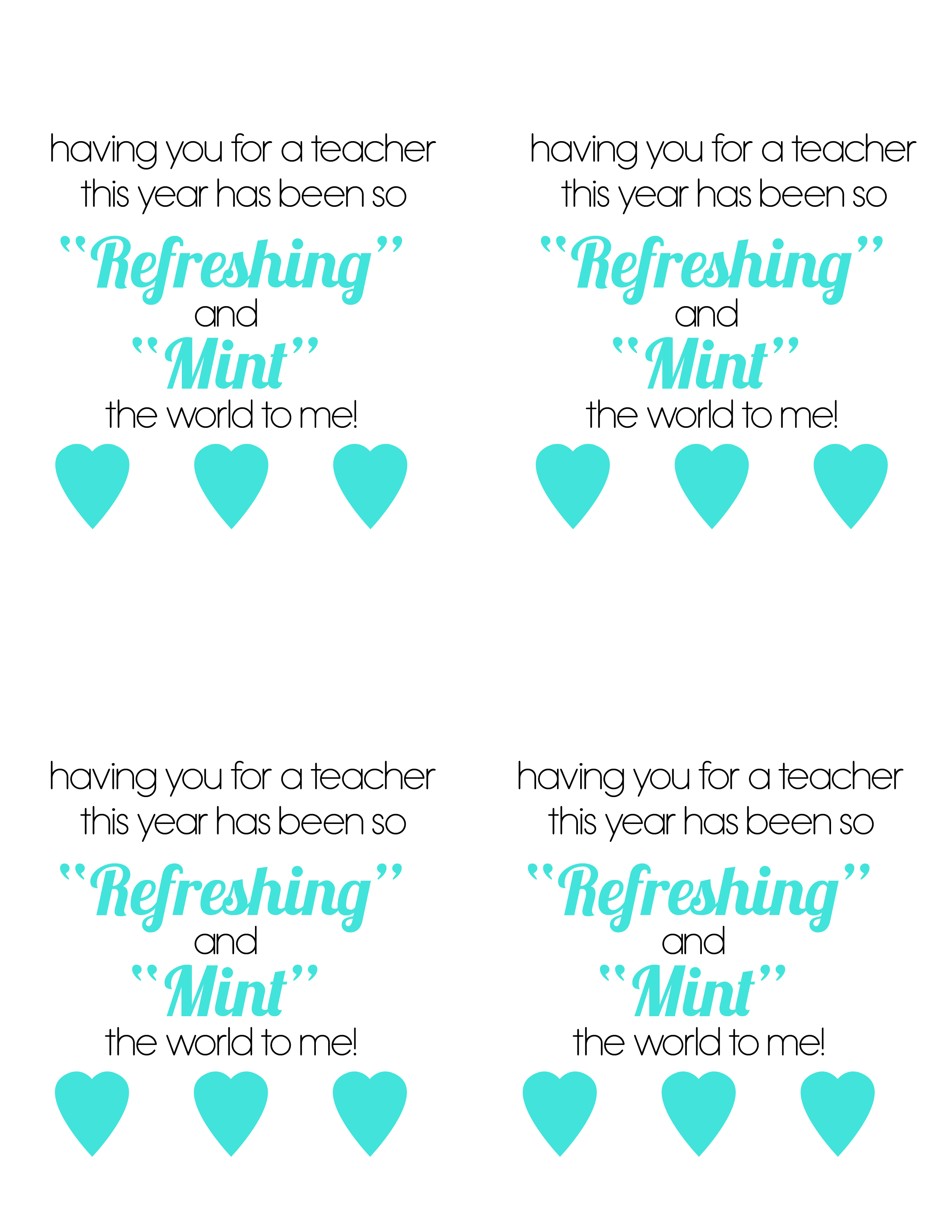 Mints Teacher T With Free Printable