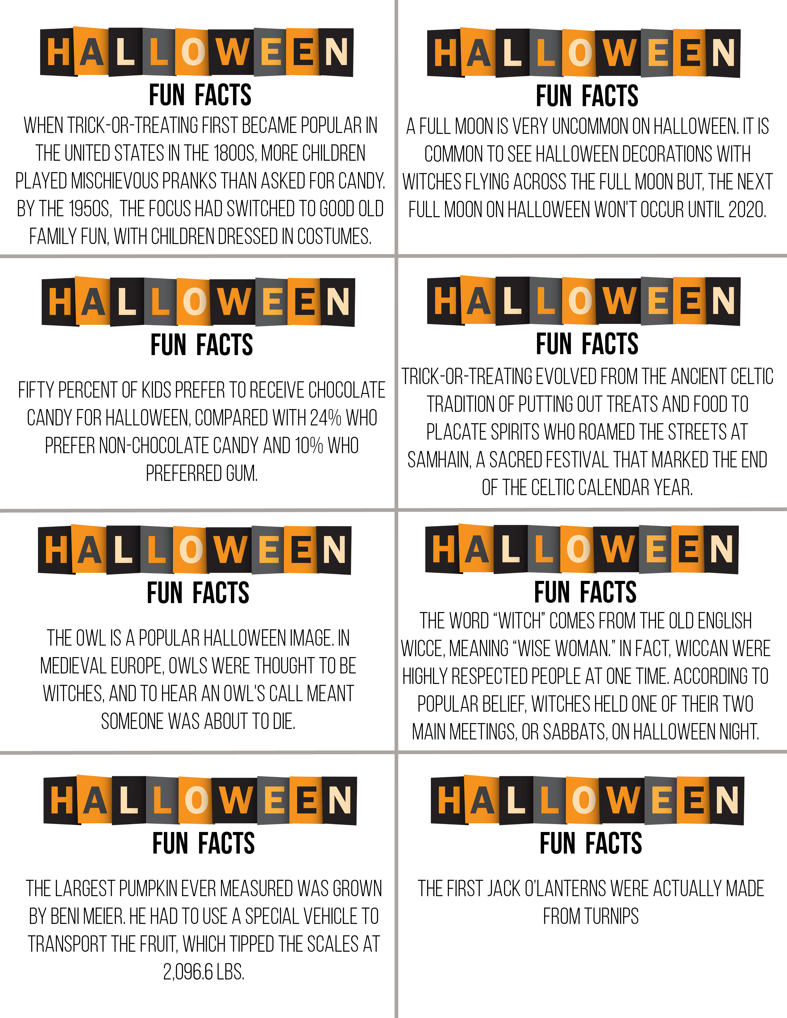 Halloween Fun Facts Lunchbox Printables