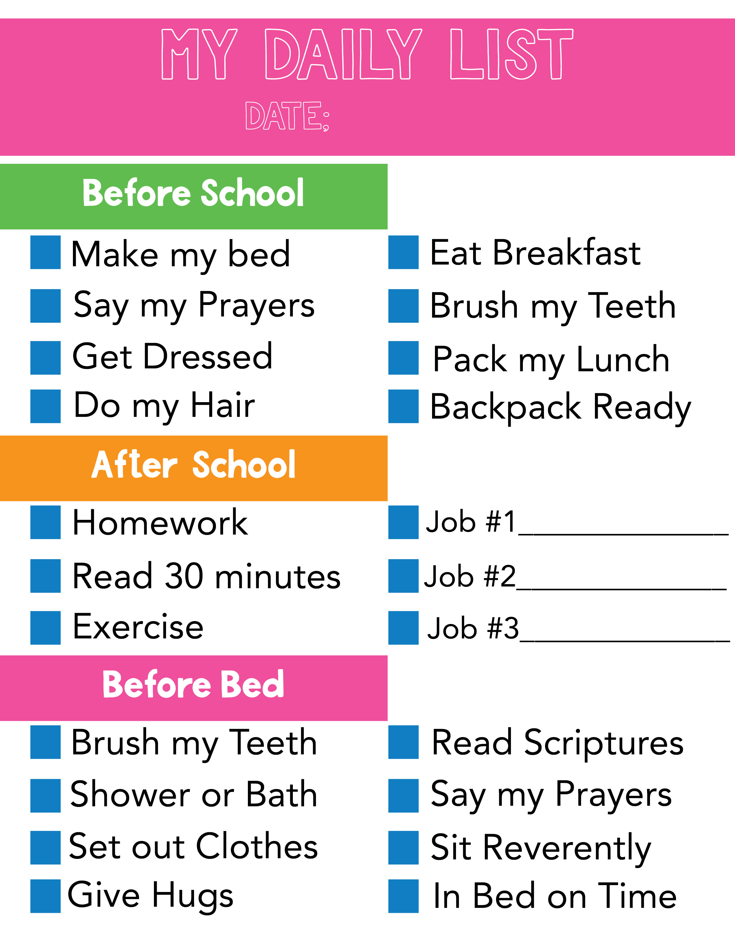 Daily List Chore Chart For Kids