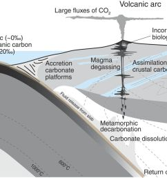 schematic diagram to show the possible sources of carbon in a subduction zone volcanic system and the processes that might fractionate carbon isotopes  [ 1280 x 698 Pixel ]