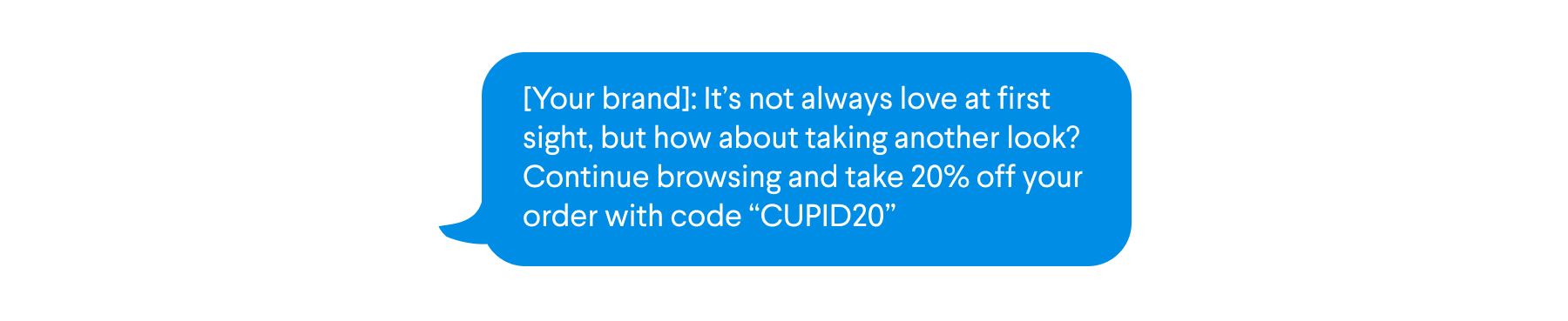 Sample text for SMS campaign to people who clicked but didn't purchase from Valentine's Day promo