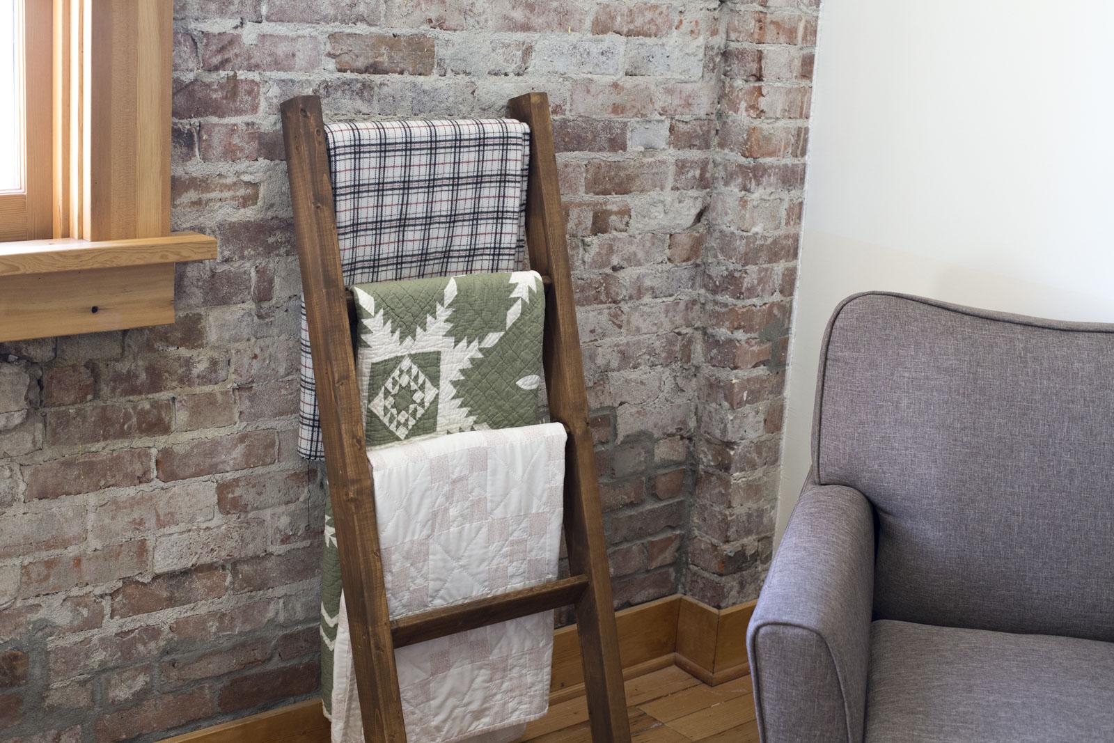 living room blanket holder one sofa diy quilt rack how to make a ladder or