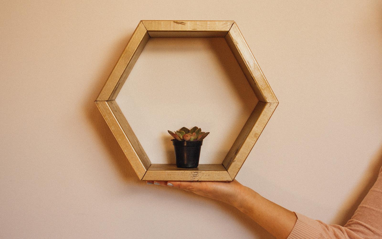 Hexagon Shelves DIY How To Make  Hang A Hexagon Shelf