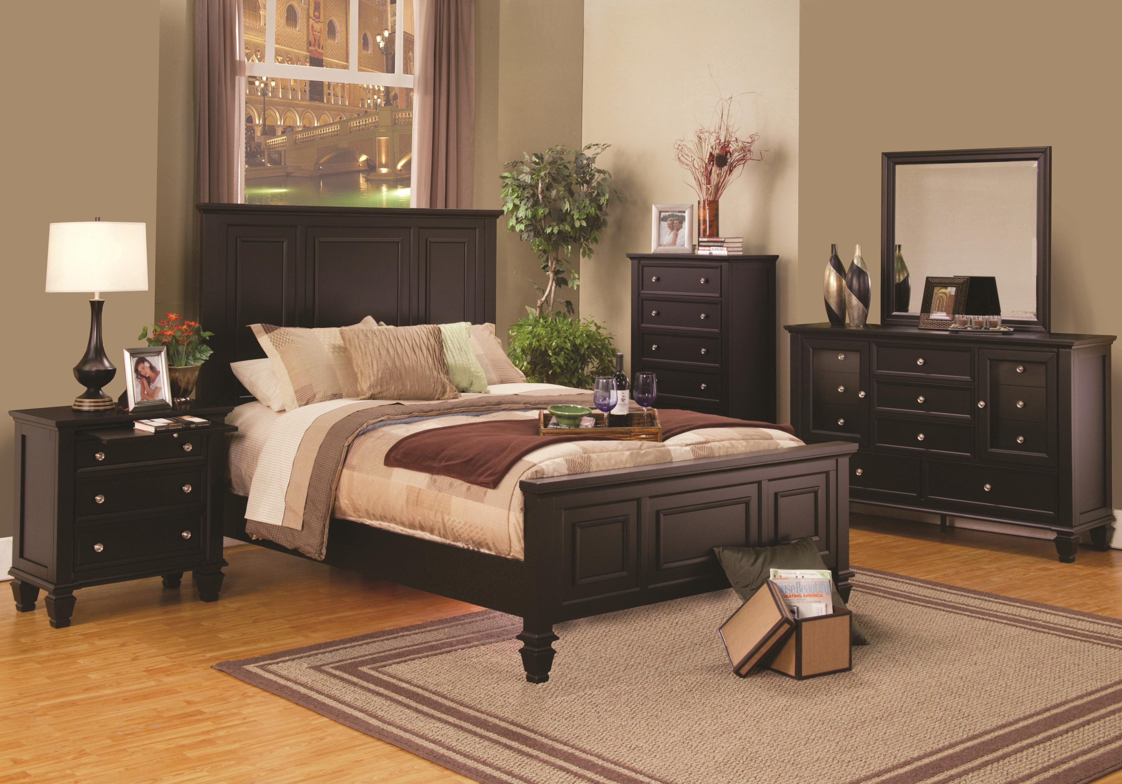 King Size Cappuccino Wood Panel Bed Bedroom Furniture 4pcs