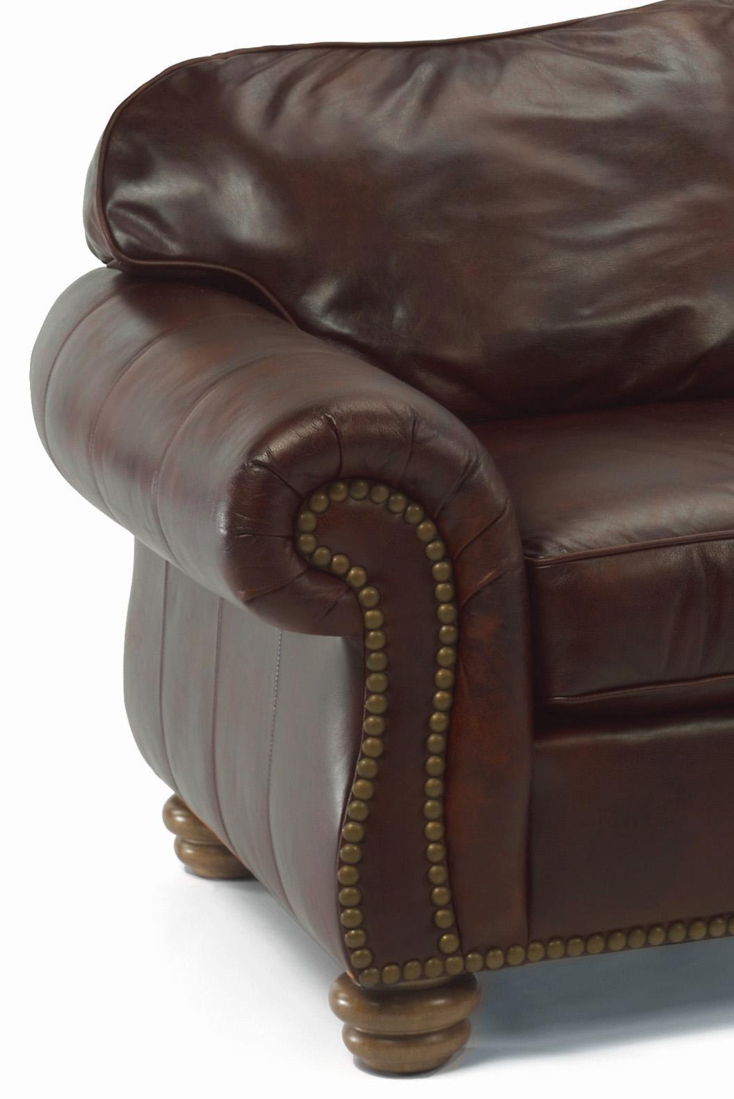 flexsteel bexley sofa big cushion leather sol by belfort furniture