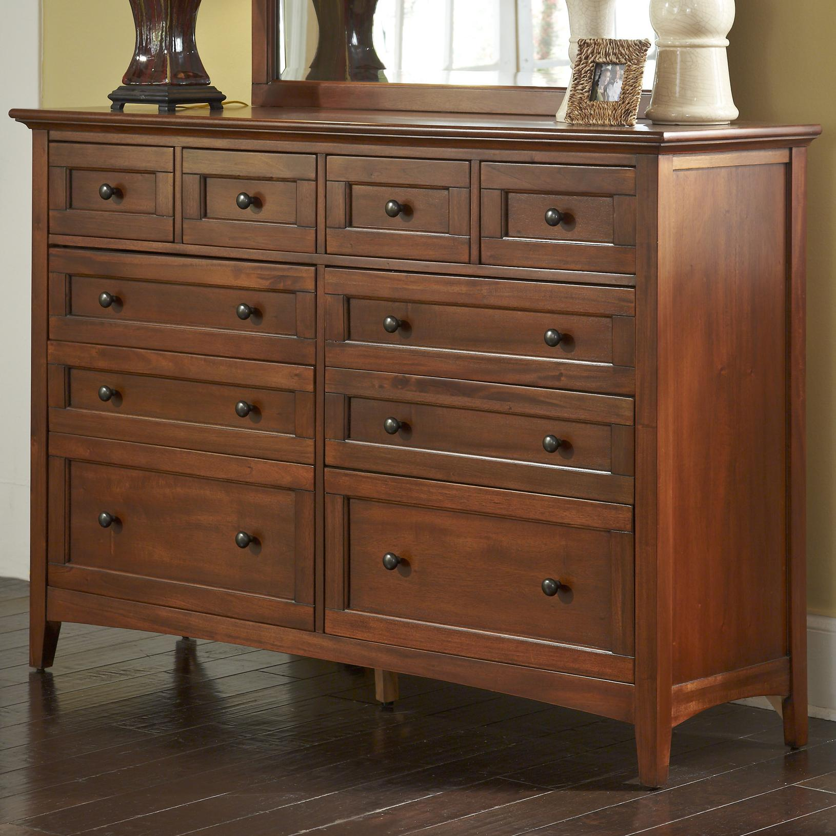 Transitional 10Drawer Dresser with Felt Lined Top Drawers by AAmerica  Wolf Furniture