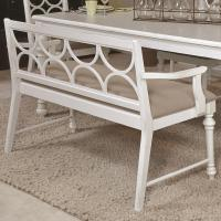 Upholstered Dining Bench with Decorative Wood Back by ...
