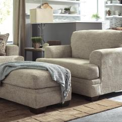 Chairs With Ottomans For Living Room Zero Gravity Lawn Canada Contemporary Chair And A Half Ottoman By Benchcraft Wolf