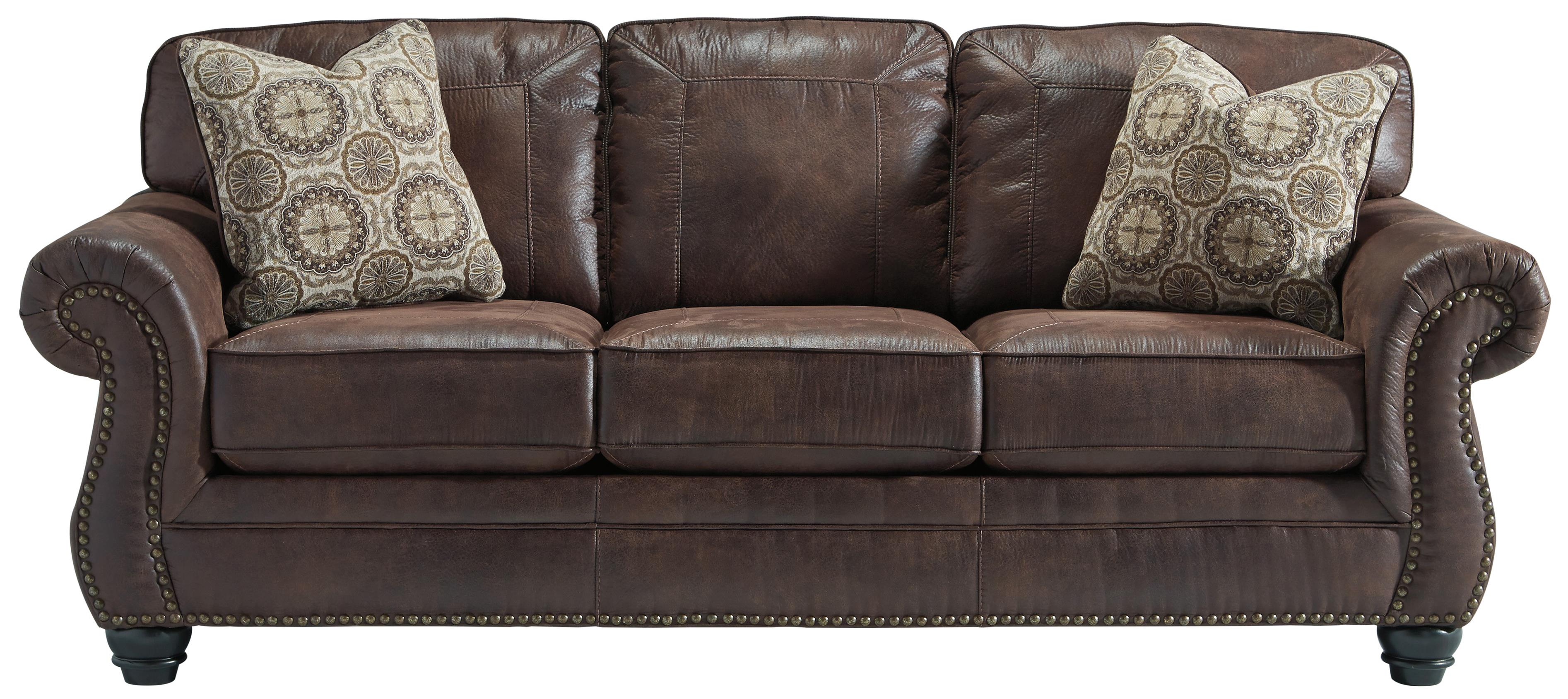 Faux Leather Sofa with Rolled Arms and Nailhead Trim by Benchcraft  Wolf and Gardiner Wolf