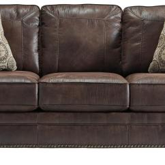 Leather Sleeper Sofa With Nailheads Table Bottom Shelf Faux Queen Rolled Arms And Nailhead Trim