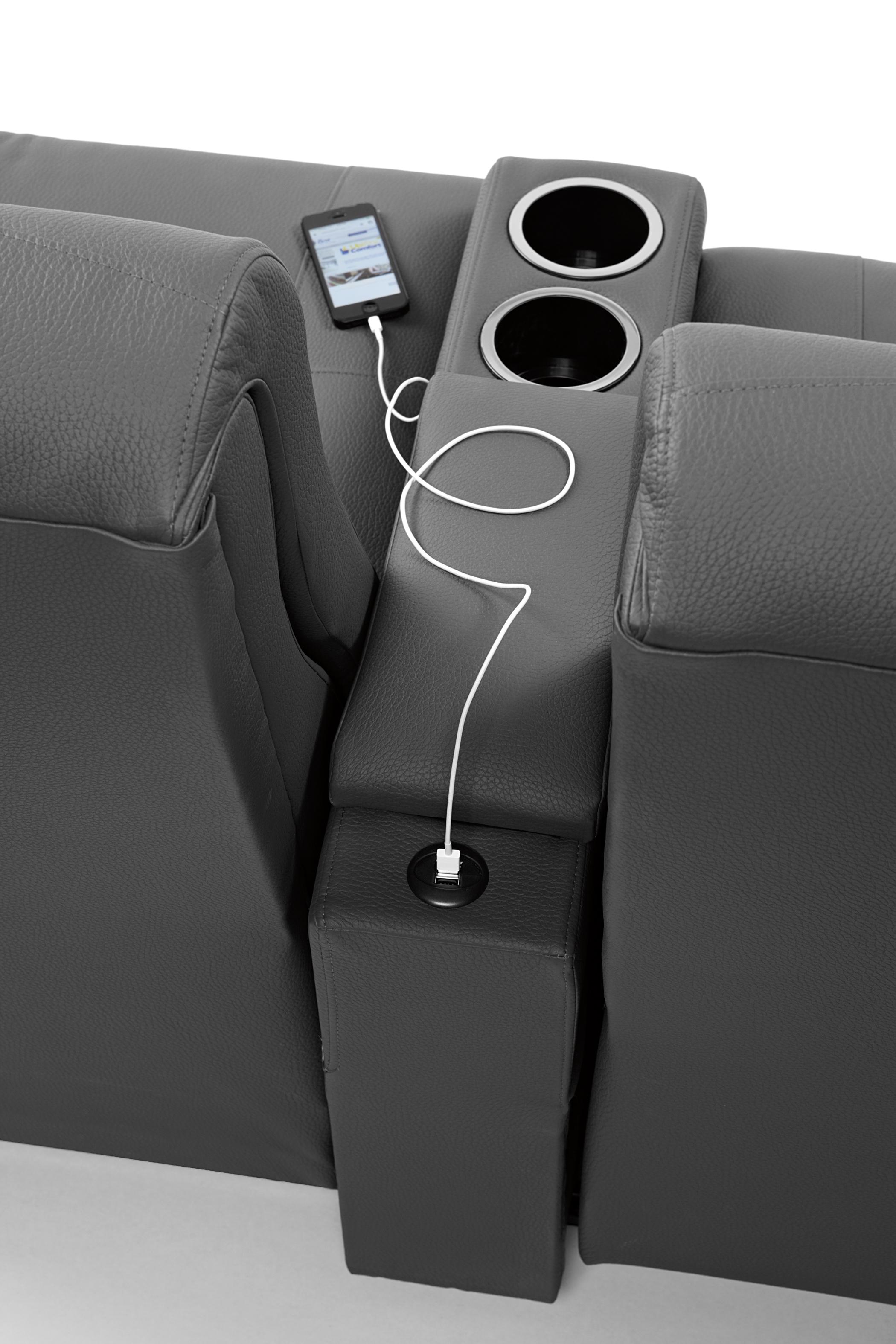 Contemporary Rocking Reclining Loveseat with Drink Console
