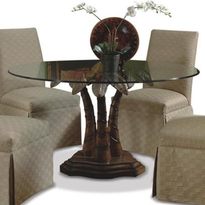 Round Glass Dining Table With Palm Tree Pedestal Base By