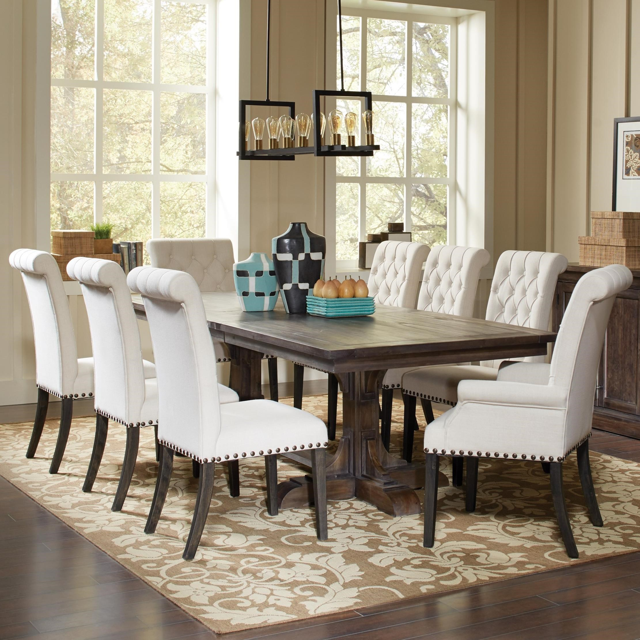 Dining Room Upholstered Chairs Traditional Dining Table And Cream Upholstered Chair Set By