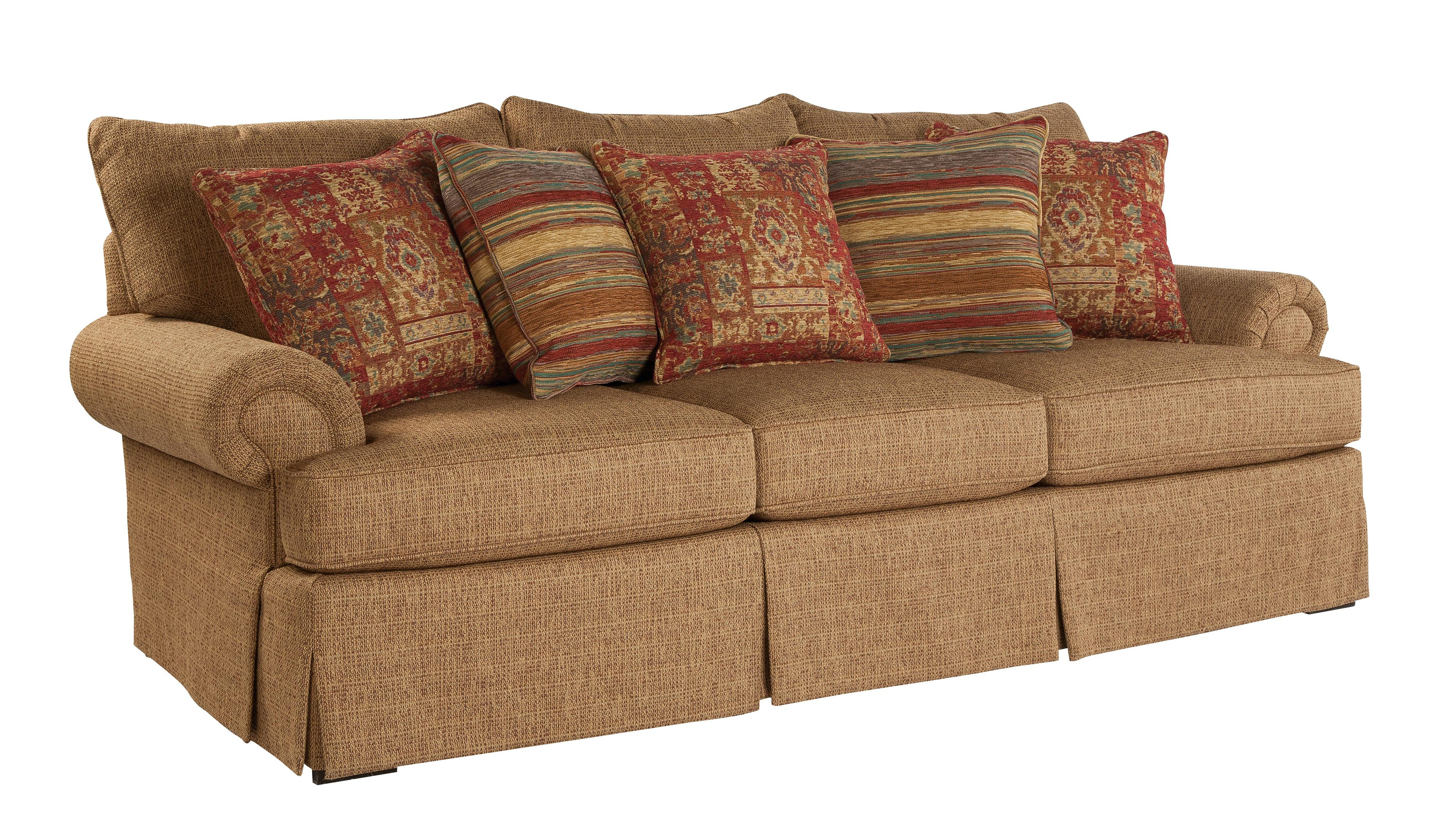 Loose Pillow Back Sofa with Rolled Arms and Skirt by