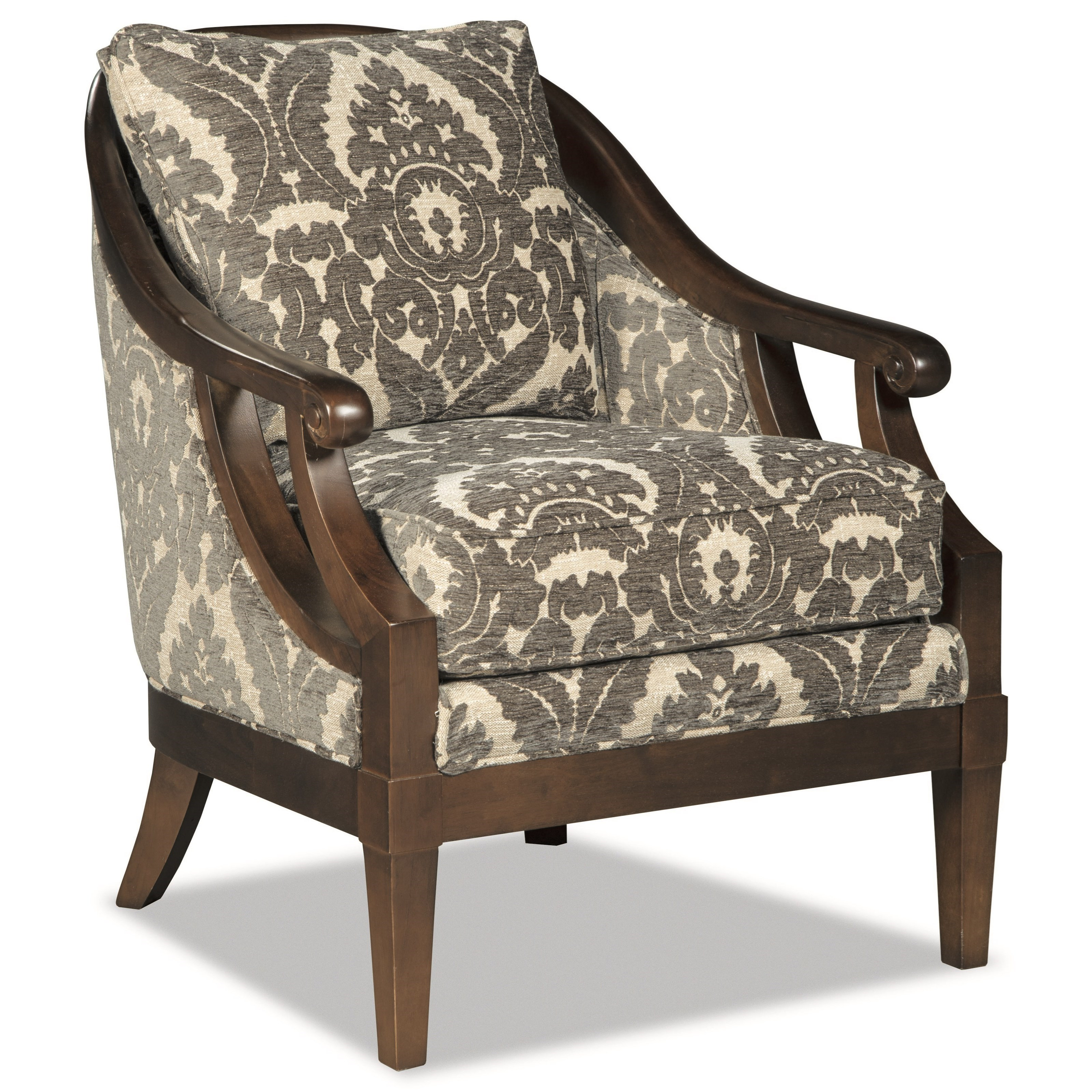 Traditional WoodFramed Accent Chair with Scroll Arms by