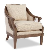 Traditional Wood-Framed Accent Chair with Scroll Arms by ...