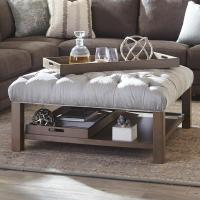Cocktail Ottoman with Button-Tufting and Storage Trays by ...