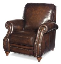 Traditional Leather High Leg Recliner with Turned Wood ...