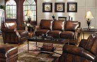 Traditional Leather Sofa with Rolled Arms and Nailhead ...
