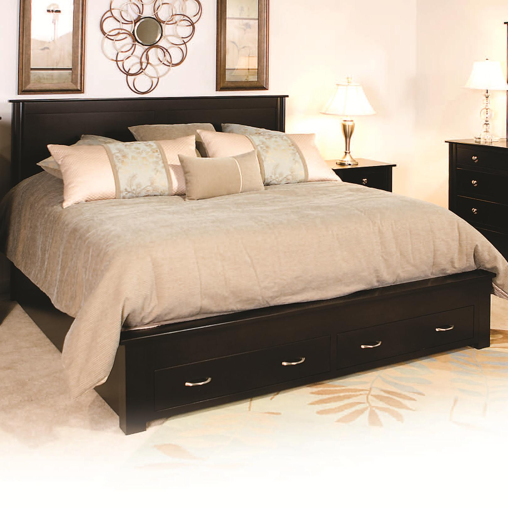 Queen Frame Bed With 2 Footboard Drawers By Daniel S Amish