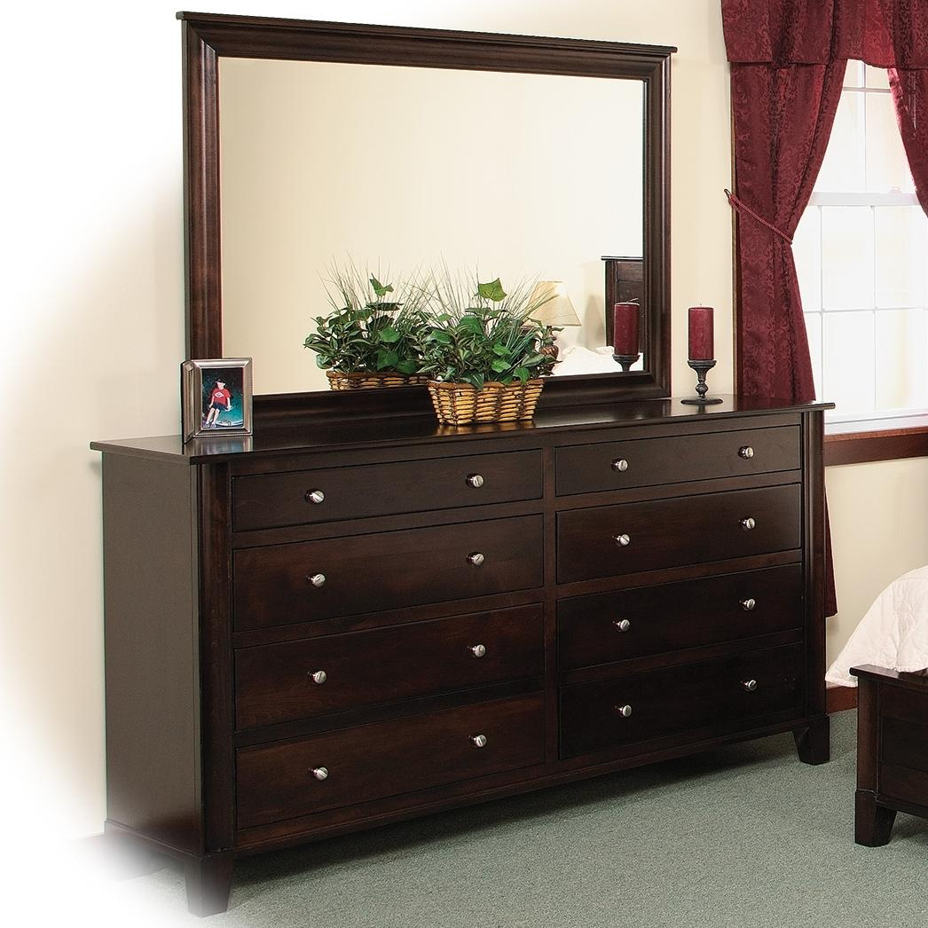 8Drawer Double Dresser  Mirror w Slats by Daniels Amish  Wolf and Gardiner Wolf Furniture