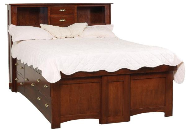 King Solid Wood Pedestal Bed With 10 Drawers And Bookcase Headboard Daniel' Amish Wolf
