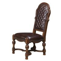 Host Side Chair with Leather Upholstery and Nailhead Trim ...