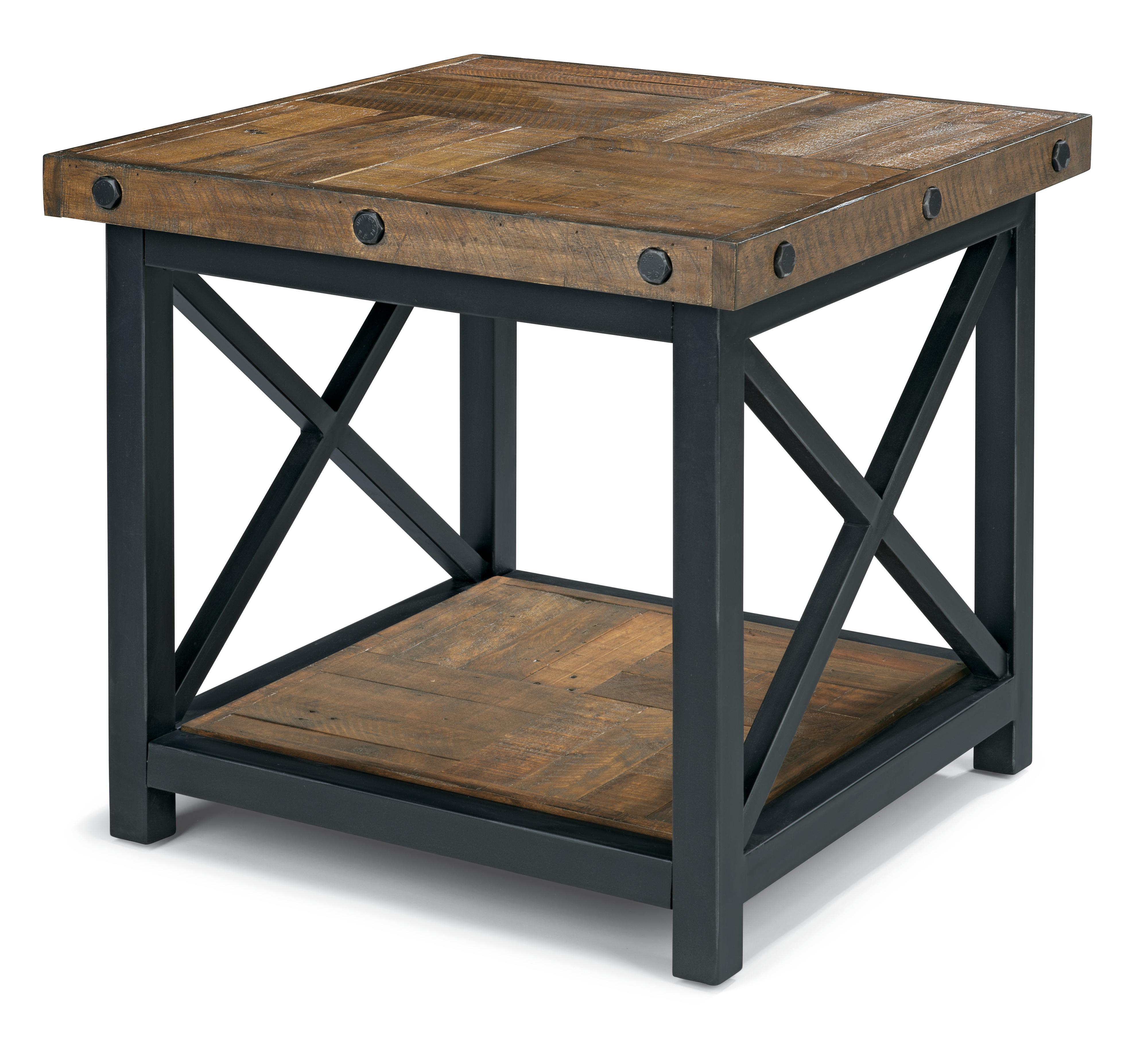 Square End Table with Wood Plank Top by Flexsteel