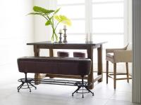 Giles Counter Height Leather Dining Bench with Industrial