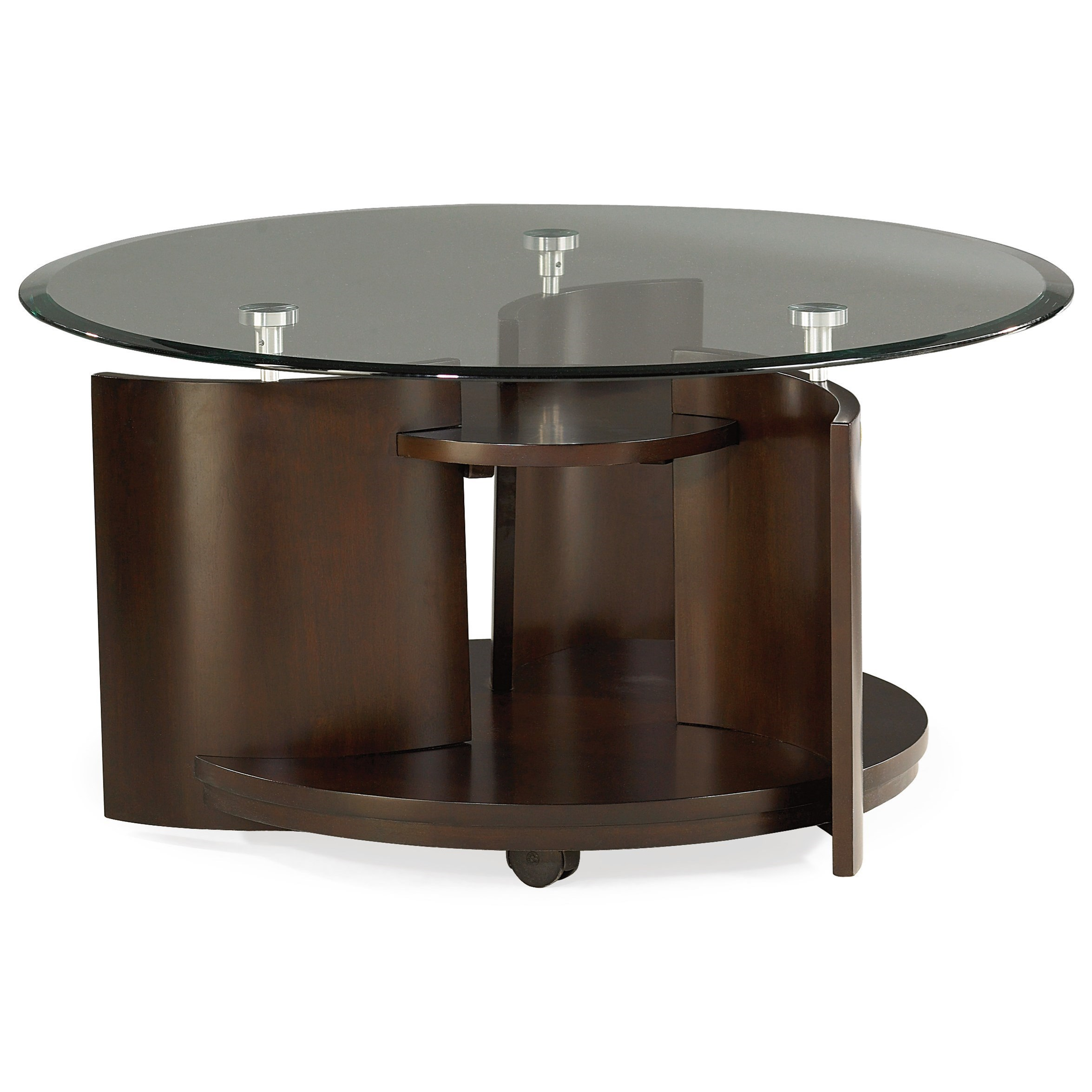Glass Top Round Cocktail Table by Hammary