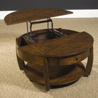 Round Lift-Top Cocktail Table with Lower Shelf and Drawer ...