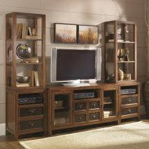 Six-drawer Two-door Entertainment Wall Unit With Shelving