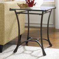 Contemporary Metal Rectangular End Table with Glass Top by ...